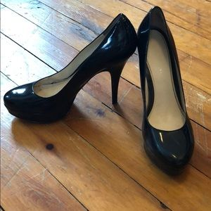 Black leather platform heels/stilettos 9M